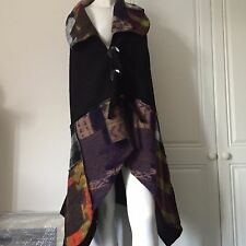 Waistcoat/Gilet in Boiled Wool Asymmetrical by Sarah Santos of Italy - Black
