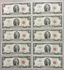 10 Piece US $2 Red Seal Star Notes