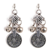 Hot Boho Gypsy Beachy Ethnic Floral Design Silver TURKISH Bell Coin Earrings