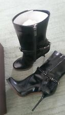 Jonathan Kelsey Round Toe Patent Leather Zip Boots Stiletto Heel  -   Size 6.5