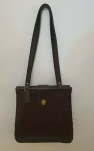 Coach Weston Dowels brown leather double strap Creed 9021 Large shoulder bag.