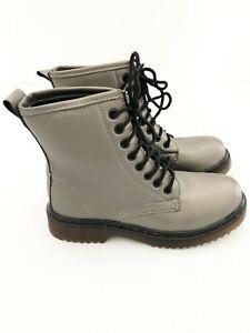 New Ladies Grey Pewter Biker Chic Boot UK Size 3, 7
