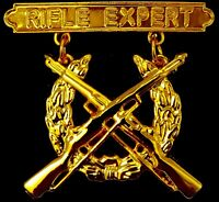 Rifle Expert Marine Corps Weapons Qualification GOLD PLATED Badge USMC