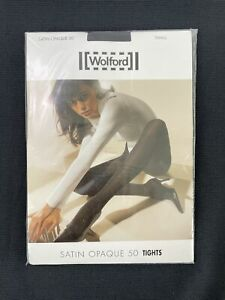 Wolford NWT Black Satin Opaque 50 Tights Size S