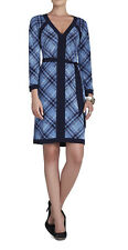 "$198 BCBG BLUE IRIS COMBO ""MAYLA"" V-NECK LONG SLEEVE JERSEY DRESS NWT S"