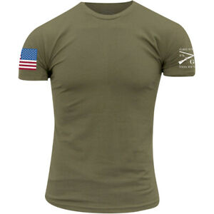 Grunt Style Full Color Flag Basic T-Shirt - Military Green