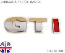 GTI RED & CHROME BOOT BADGE ABS - CAR VAN - UK V W Golf Bora Passat T4 MK4 MK5