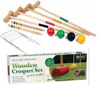 4 Player Wooden Croquet Set Mallet Kids Adult Fun Outdoor Garden Games Toy