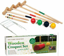 4 Player Wooden Croquet Set Mallet Kids Adult Fun Outdoor Garden Games Toy
