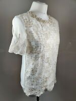 Women Boxy Top Cream Embroidered Crochet Embellished Cream Occasion UK 8/10 New
