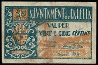 Billete Ajuntament de Calella 1937 25 centims ajuntamiento centimos