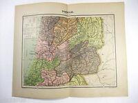 Original 1906 Map of North Central Portugal. Antique