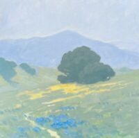California Bluebonnets Impressionism Poppies Landscape Art Oil Painting hills