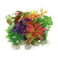 10 x Mixed Kuenstliche Aquarium Wasserpflanze Kunststoff Dekoration Ornament VG