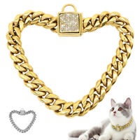Luxury Rhinestone Dog Cat Chain Collar Heavy Duty Stainless Steel Necklace Choke