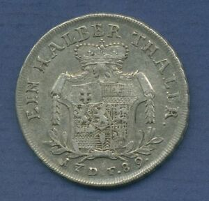 Hessen-Kassel 1/2 Reichstaler 1789 DF Wilhelm IX., Schütz 2107, ss (m3023)
