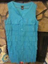 Women's Dress Size M (10) Turquoise Tiered Ruffles Sleeveless Very Cute Style