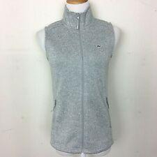 VINEYARD VINES Women's Sweater Vest Fleece Lined Zip Front Heather Gray Size XS