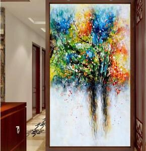 "HH054 Hand-painted Abstract oil painting on canvas Tree Unframed 24""x48"""