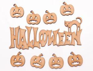 Halloween Wooden MDF Shape - Halloween writing with cat & pumpkins - 9 items set