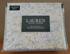 Ralph Lauren Queen Sheet Set Floral Pastel Watercolor 100% Cotton Xd Pocket New