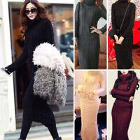 Women Winter Warm Knitted Dress Casual Long Sweater Turtleneck Tight High Collar