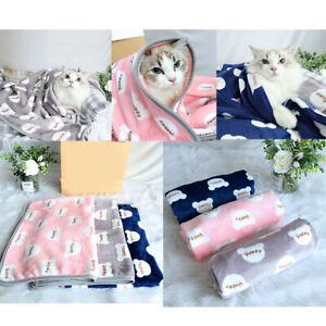 Soft Warm Fleece Lovely Design HAPPY Print Pet Blanket Dog Cat Mat Puppy Sofa US