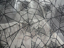 Halloween fabric spider web sheer fabric spooky glitter textured spider fabric.