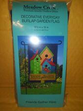 "Meadow Creek Decorative Burlap Garden Flag 12.5 X 18 ""Friends Gather Here"""