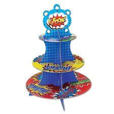 SUPERHERO CUPCAKE STAND HOLDER HOLDS 24 CUPCAKES SPIDERMAN BATMAN PARTY