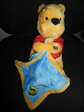 doudou peluche winnie l'ourson couverture mouchoir bleu pot miel abeille DISNEY