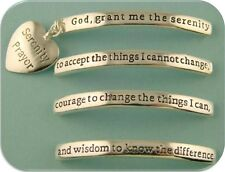 2 Hole Beads Serenity Prayer Engraved Bangle Bars with Heart Charm QTY 4 Sliders