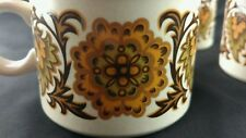 Vintage Midwinter Flower Medallion Coffee Mug Blue Brown England Set of 3