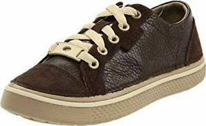 CROCS Hover Kids Sneak Leather Childrens Shoes- Espresso/Khaki - US Size C13