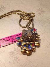 BETSEY JOHNSON CRYSTAL CARTOON CAT PENDANT AND NECKLACE