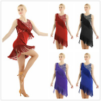 Women's Latin Dance Dress Costume Sequined Dacce Tassel Fringe Dress + Shorts