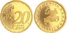 Monaco 20 Cent Kursmünze 2001 Polierte Platte (Proof) in Münzkapsel