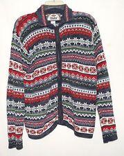 Tiara International Red Green Gray Black White Striped Womens Zip Sweater Size M