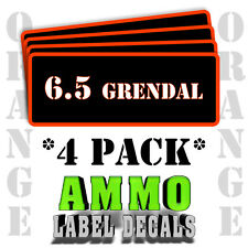 "6.5 GRENDEL Ammo Label Decals for Ammunition Case 3"" x 1"" Can sticker 4 PACK -OR"
