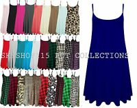Ladies Camisole Cami Flared Skater Womens Strappy Vest Top Swing Mini Dress*CamL