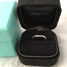 Auth Tiffany & Co Elsa Peretti 3 Diamonds Curve Band Ring White Gold 750