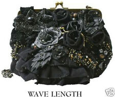 Mary Frances Black Bronze Gold Beaded Wave Length With Matching Mini Handbag New