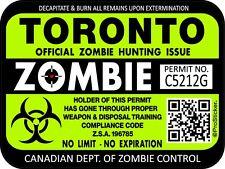 Canada Toronto Zombie Hunting License Permit 3x4 Decal Sticker Bio Hazard 1316