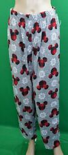 DISNEY gray w plaid red Mickey mouse & flakes fleece sleep lounge pj pants,men's