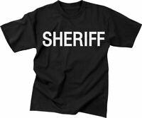 Sheriff Tactical T-Shirt Black Unisex Uniform Double Sided Raid Deputy Duty Tee