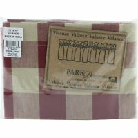 "Wicklow Garnet Red Tan Check Window Valance 72"" x 14"" Park Designs"