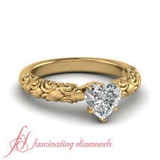 1/2 Ct Heart Shaped Diamond Solitaire  Filigree Accent Engagement Ring Flawless
