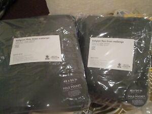 2 West Elm Belgian linen melange olive  48 X 84 drapes panels New