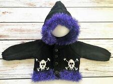 Baby Goth Emo Punk Hand Knitted Cardigan/Jacket/Hoody Skull Crossbones 0-3M Fur