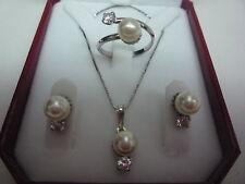 argento sterling 925 perla 7mm e zircone SET ANELLO Orecchino Catenina ciondolo